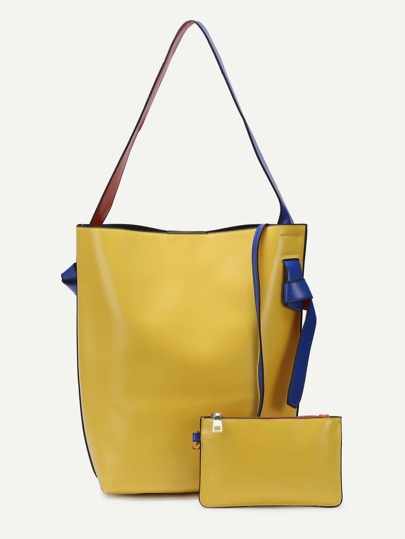 Color Block PU Tote Bag With Clutch