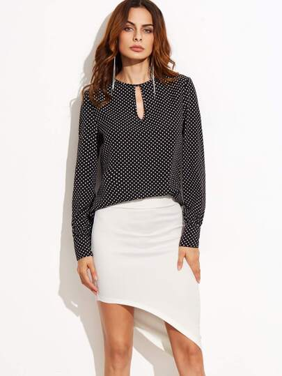 Чёрная модная блуза в белый горошек