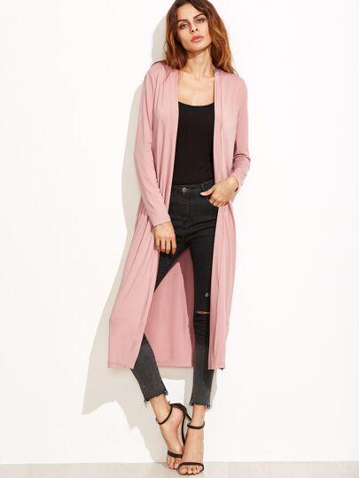 Manteau long manche longue couleur unie - rose