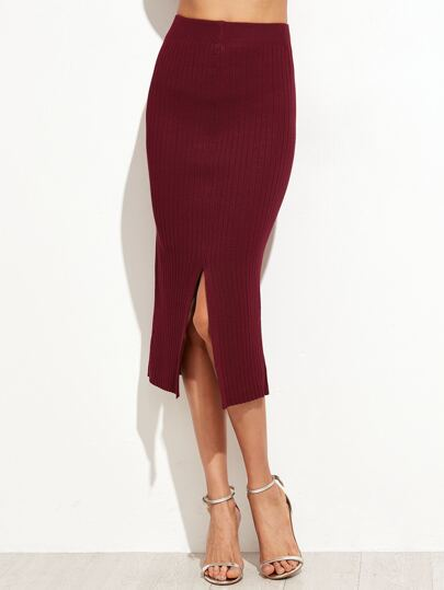 Burgundy Split Front Ribbed Sweater Pencil Skirt