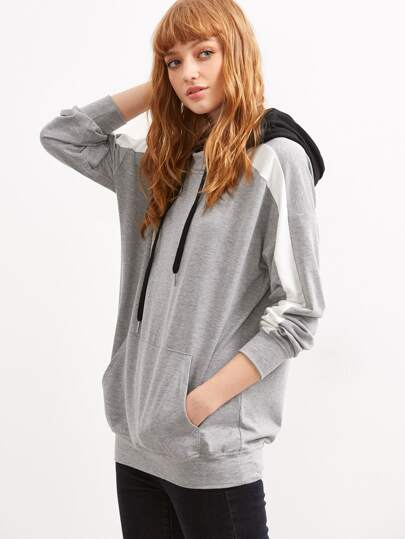 Color Block Drop Shoulder Striped Sleeve Hoodie