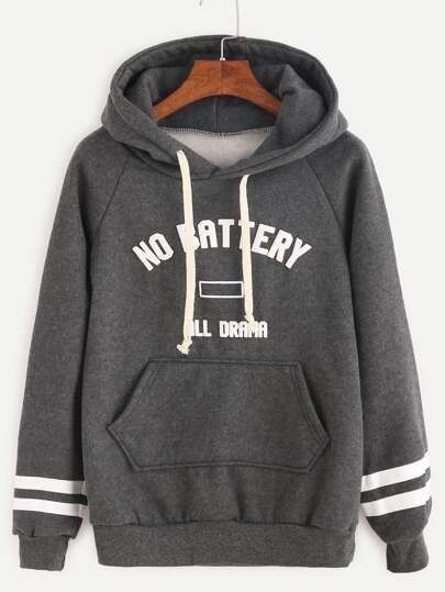 Тёмно-серый свитшот с капюшоном с текстовым принтом