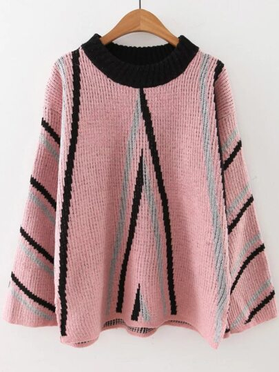 Pink Striped Crew Neck Side Slit Sweater