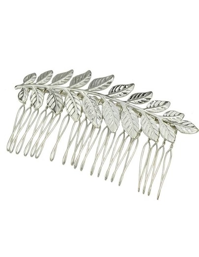 Silver Plated Leaf Shape Hair Comb