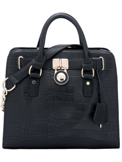 Black PU Crocodile Embossed Tote Bag With Strap