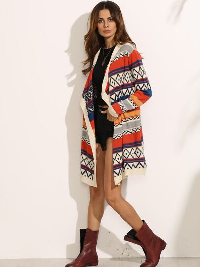 Multicolor Geo Pattern Open Front Waterfall Cardigan