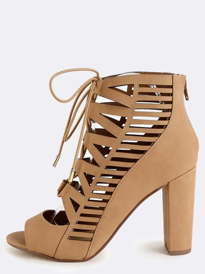 Open Toe Tribal Cut Out Heels DARK SAND