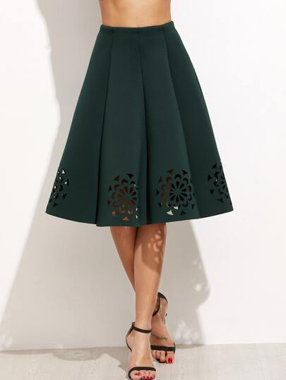 Dark Green Laser Cut Out Pleated Skirt