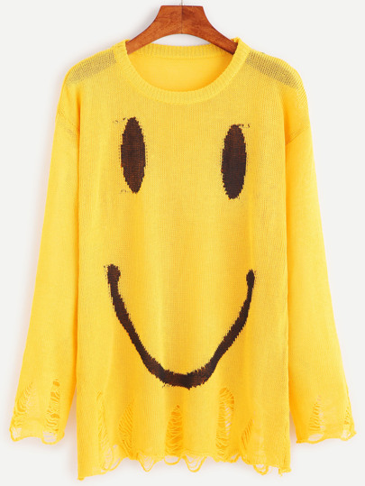 Yellow Smiley Face Print Distressed Sweater
