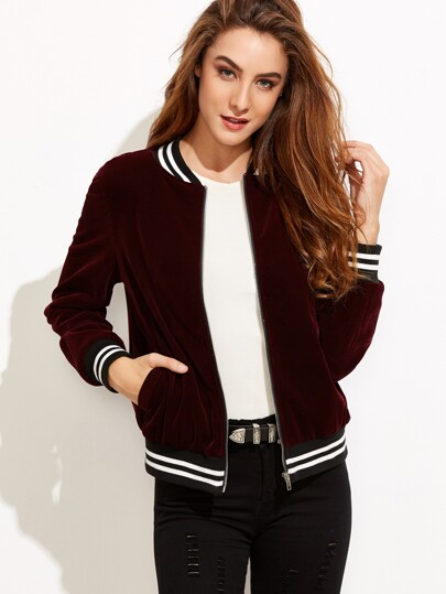 Burgundy Velvet Bomber Jacket With Striped Trim Detail