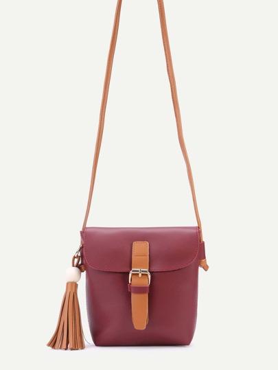 Burgundy PU Buckle Closure Tassel Trim Shouler Bag