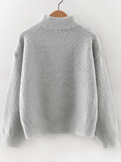 Grey Turtleneck Drop Shoulder Sweater