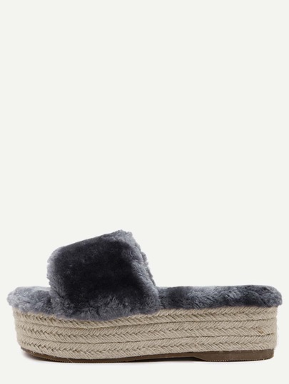 Grey Rabbit Hair Peep Toe Espadrille Platform Slippers