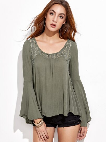 Army Green Lace Insert Bell Sleeve Blouse