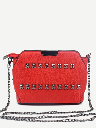 Red Pebbled PU Zip Closure Studded Chain Bag
