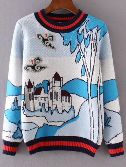 Blue Striped Trim Graphic Embroidery Sweater