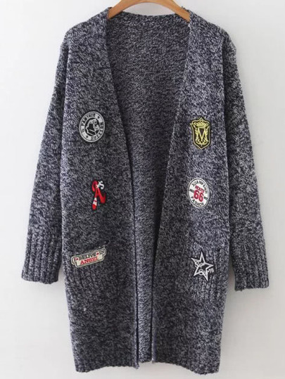 Navy Marled Knit Patch Long Cardigan With Pockets