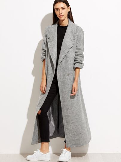 Heather Grey Hidden Button Back Belted Coat