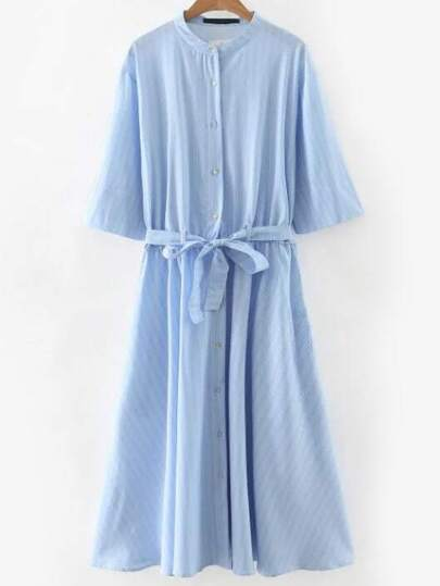 Blue Letter Print Back Shirt Dress With Self Tie