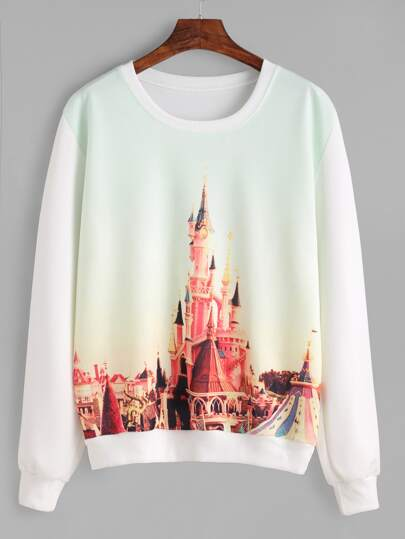 White Cinderella Castle Paint Sweatshirt