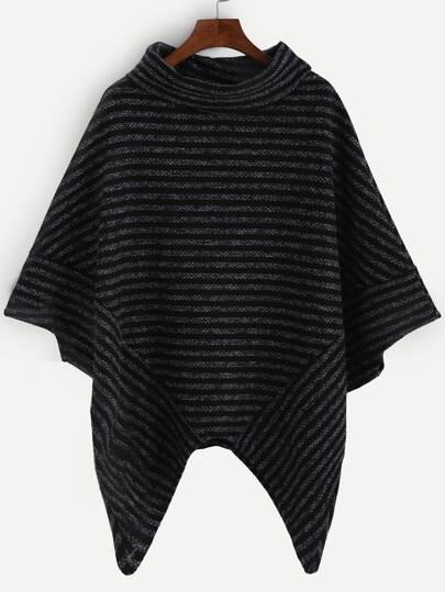 Striped Turtleneck Asymmetric Poncho Sweater