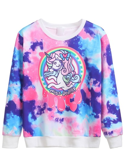 Contrast Trim Cartoon Print Sweatshirt