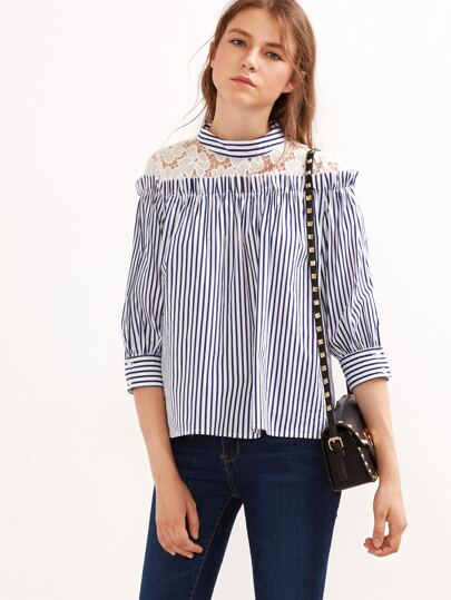 Navy Vertical Striped Lace Yoke Blouse