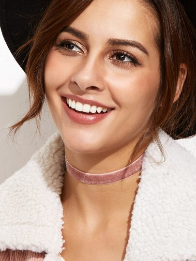 Pink Velvet Slim Choker Necklace