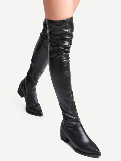 Black Faux Leather Point Toe Over The Knee Zipper Boots