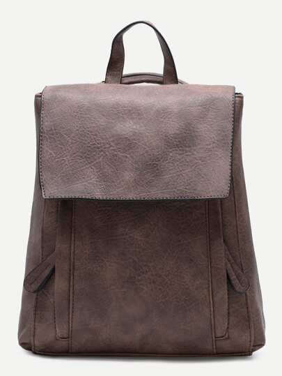Coffee PU Front Zipper Flap Backpack