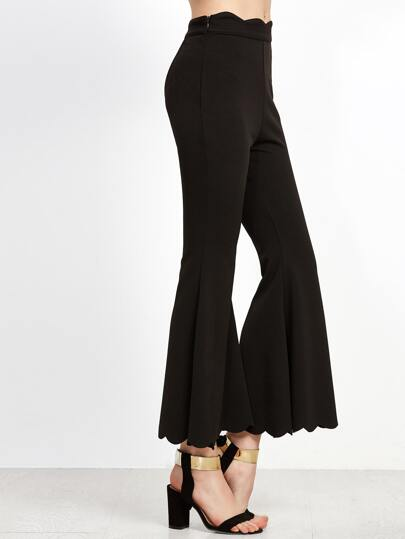 Black Scalloped Trim Flared Pants