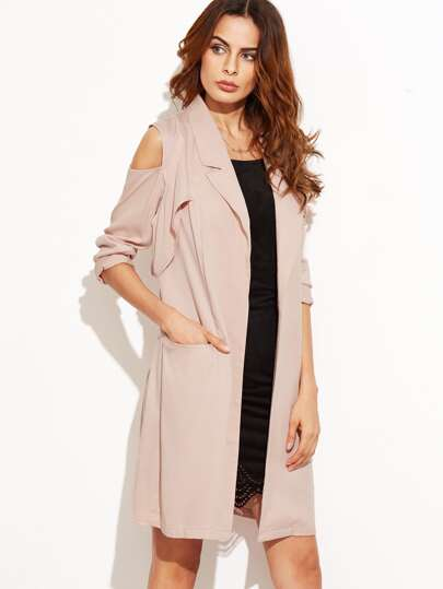 Pink Cold Shoulder Open Front Longline Blazer