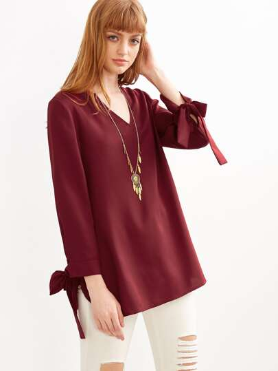 Burgundy V Neck Tie Sleeve Blouse