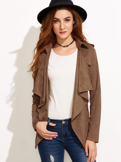 Coffee Suede Waterfall Collar Wrap Coat