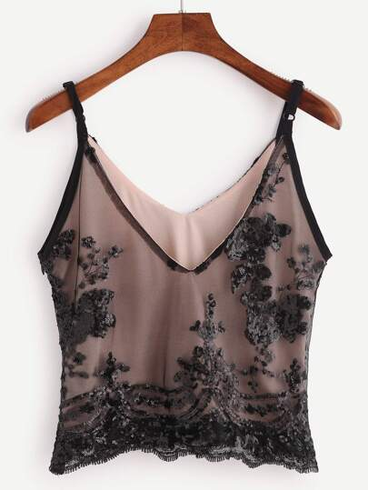 Black Mesh Overlay Sequin Cami Top