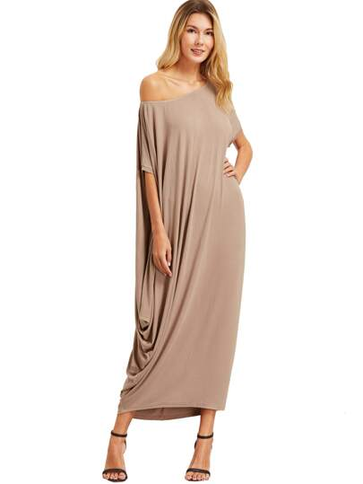 Light Khaki One Shoulder Dolman Sleeve Maxi Dress