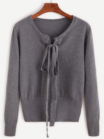 Dark Grey Lace Up Jersey Sweater