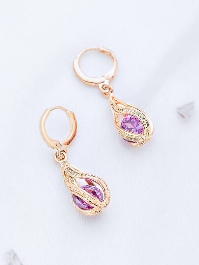 Rose Gold Hollow Out Rhinestone Drop Earrings
