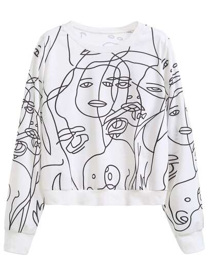 White Graphic Print Sweatshirt