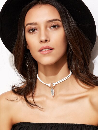 White Leaf Pendant Cord Choker Necklace
