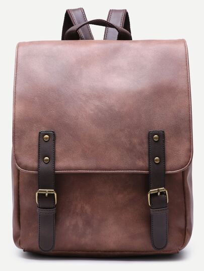 Brown Faux Leather Double Buckle Flap Backpack