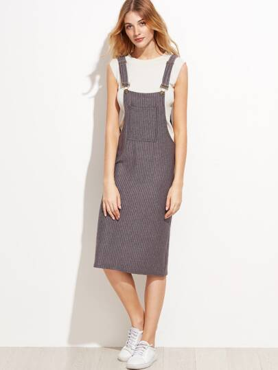 Ribbed Pocket Slit Pinafore Dress