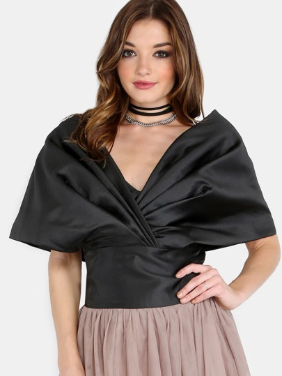 Shoulder Shawl Ribbon Crop Top BLACK