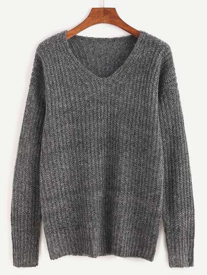 Ribbed Knit Drop Shoulder Sweater