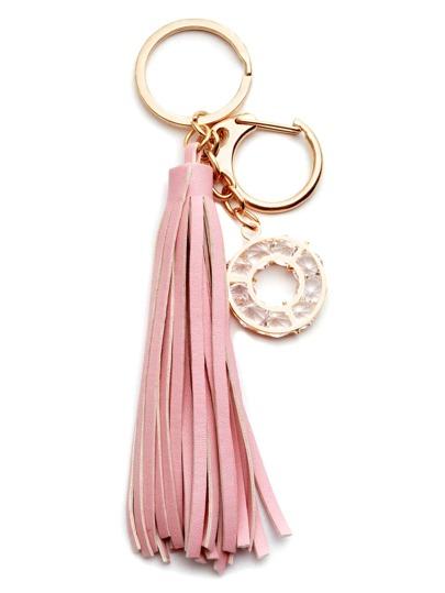 Pink Tassel Circle Crystal Keychain