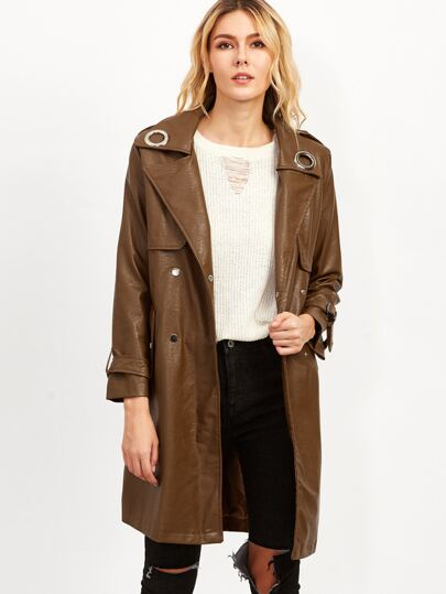Camel Faux Leather Trench Coat With Belt