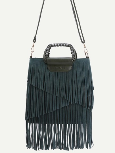 Green Faux Leather Fringe Crossbody Bag With Handle