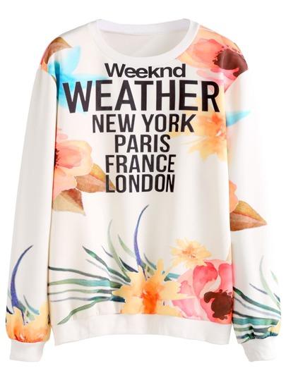 Multicolor Floral & Letters Print Sweatshirt