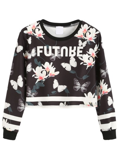 Contrast Trim Floral Print Crop Sweatshirt