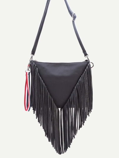 Black PU Tassel Fringe Zip Closure Crossbody Bag
